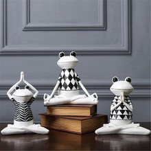 Resin Yoga Frog Figurines Nordic Garden Crafts Decorations Porch Store Animal Ornaments For Home Accessories