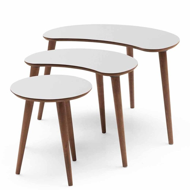 3 PCs Crescent Shaped Coffee Table  3