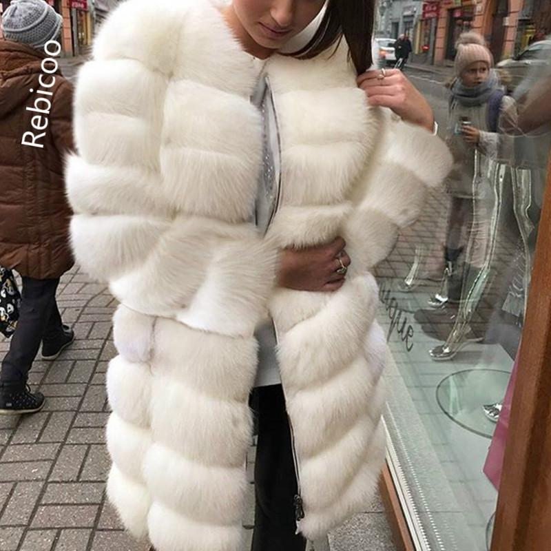 White Thick Warm Fur Long Sleeve O-neck Jacket Winter Fashion Women Faux Fur Furry Coat Outerwear Overcoat Plus Size