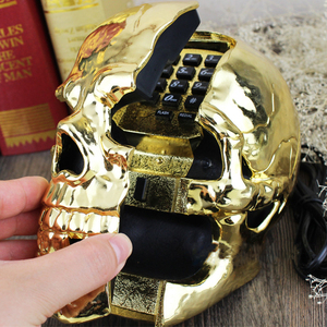 Image 5 - Mini Corded Phone Creative Skull Head Ghost Telephone, Eyes with LED Flashing Light, Audio / Pulse Dialing, Decoration for Home