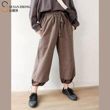 Женские брюки женские herem со шнуровкой манжетами и эластичным