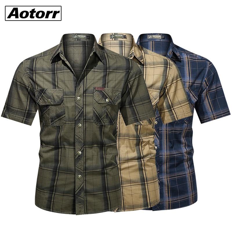 Рубашка мужская в стиле милитари, хлопок 100%, короткий рукав, повседневный клетчатый рабочий топ с лацканами, цвет хаки, 5XL, на лето