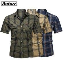 Novo 100% algodão camisa do exército dos homens da moda militar de manga curta topos casual topo masculino lapela xadrez trabalho camisas verão exército verde 5xl