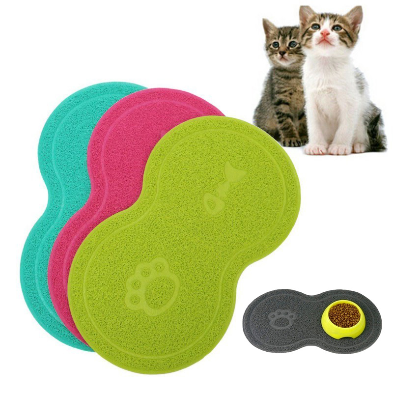 Pet Feeding Mat Dog Cat Eating Drinking Bowl Pad Waterproof Pet Litter Mat Puppy Water Food Dish Tray PVC Feed Placemat for Pet