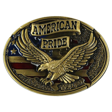 Western Cowboys Cool Vintage Embossed American Pride Golden Eagle Belt Buckle Ad