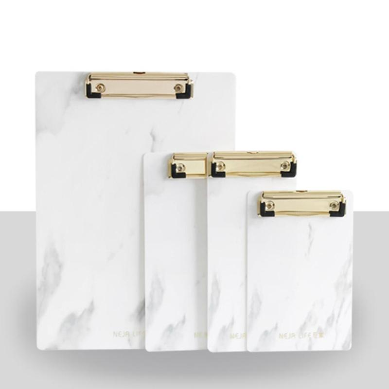 1pc Marble Different Sizes PP Clipboard Folder Fixed Board Hard Plate Writing Pad Clip Report Office Supplies