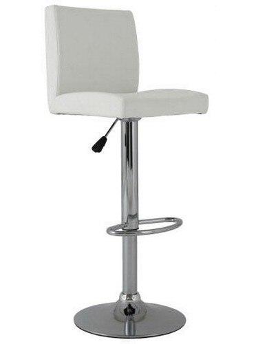 Stool ALBANO (L), Chrome, Upholstered White