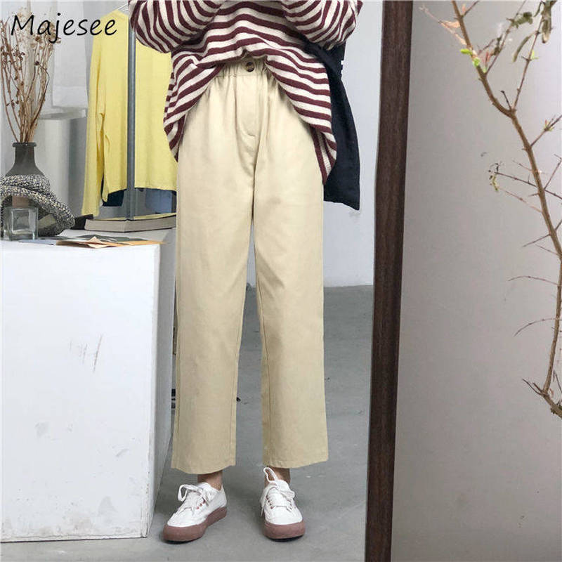 Pants Womens Plus Size 4XL Solid All-match Street Style High Elastic Waist Pockets Button Popular Harajuku Trousers Women Chic