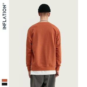Image 2 - INFLATION Men Sweatshirt Children Print Fleece Men Sweatshirt In Orange And BLack Men Loose Fit Streetwear Men Sweatshirt 9630W