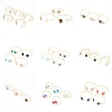 Natural Stone Ethnic Opening Charm Cuff Bracelet Crystal Geometric Adjustable Bracelet & Bangle Fashion Jewelry for Women chic hollowed geometric cuff bracelet for women