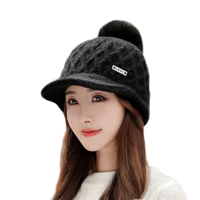 Купить женская простая зимняя вязаная шапка для девочки теплая шапочка