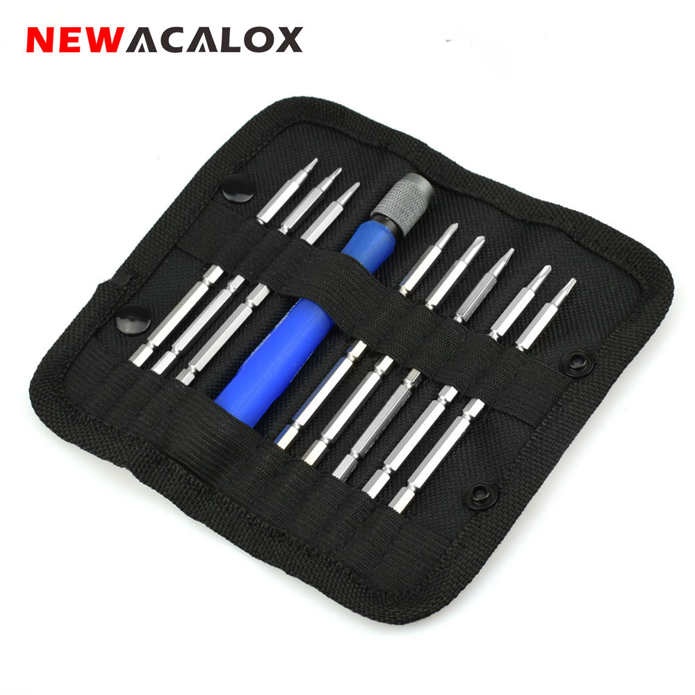 NEWACALOX Herramientas de reparación de computadoras portátiles para teléfonos móviles 9 en 1 Destornillador magnético Juego de destornilladores de precisión Kit de herramientas Torx Hex