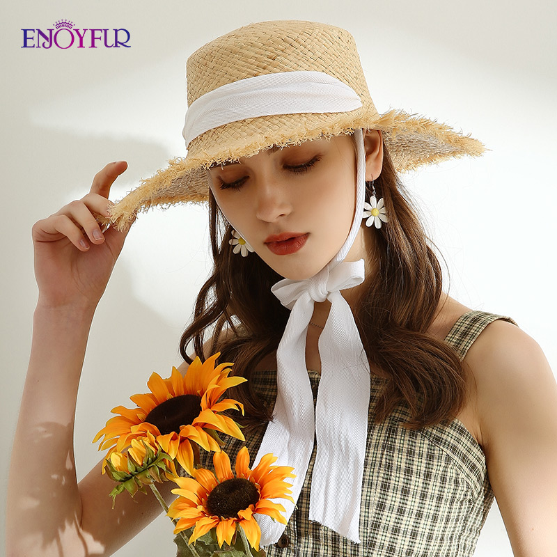 ENJOYFOUR Womens Sun Straw Hats Long Ribbon Wide Brim Beach Panama Hats Female Fashion Raffia Straw Sun Hat Chapeau Femme 2020