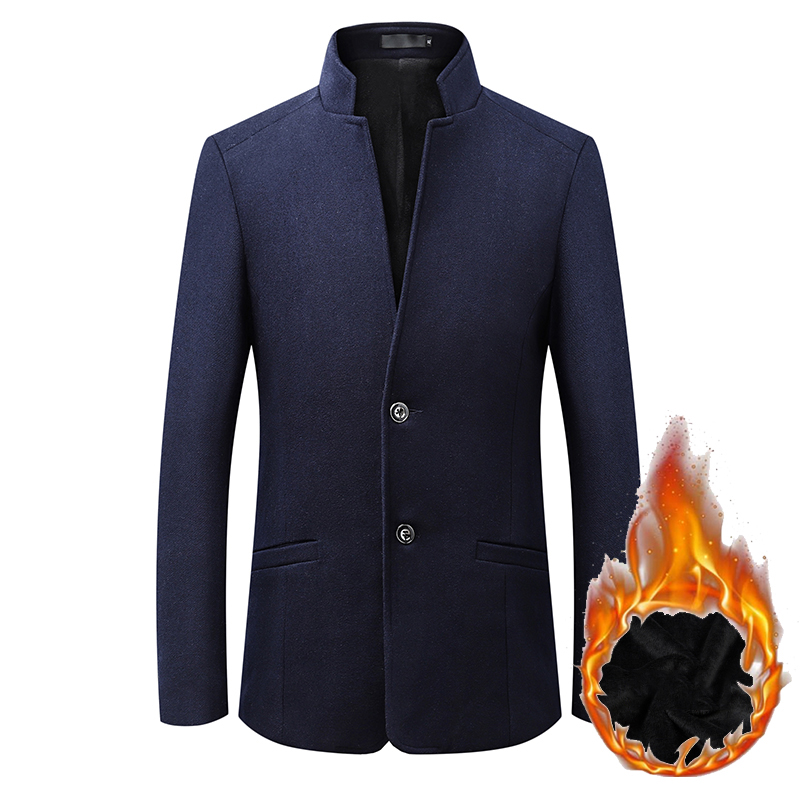 HCXY 2019 Men's Winter Blazer Men Formal Warm Suit Jacket Coat Male Wool Woolen Coat plus velvet Man Business Warm Coat Slim Fit