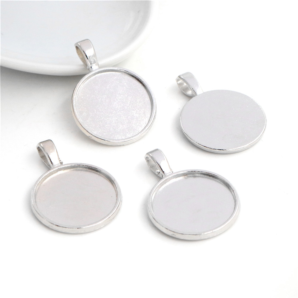 10pcs 20mm Inner Size Rhodium Colors Plated Classic Style Cabochon Base Setting Charms Pendant (D7-48)