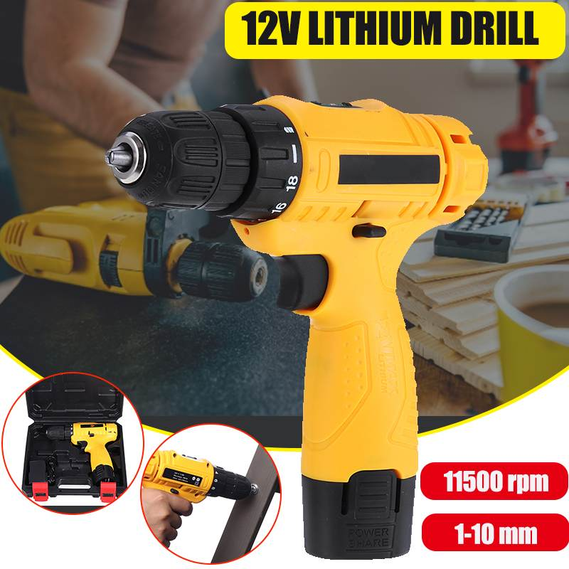 12V Electric Drill Cordless Screwdriver with Rechargeable Lithium Battery Mini Household Drill Cordless Screwdriver Power Tool