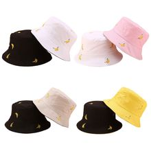 Women Men Summer Bucket Hat Banana Embroidery Double Sided Wear Contrast Color Hip Hop Harajuku Wide Brim Foldable Fisherman Cap fashion pop fruits cap unisex harajuku bucket hat adult double sided wear banana fisherman hat sunscreen outdoors cap sun hats
