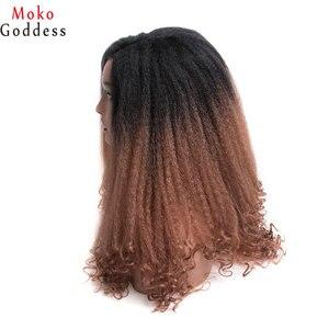 Image 3 - Mokogoddess 흑인 여성을위한 아프리카 변태 곱슬 가발 긴 합성 가발 아프리카 계 미국인 꼰 가발