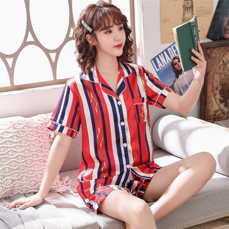 303 # Pajamas Women's Summer Short-sleeved Imitated Silk Fabric Red And Blue Stripes Korean-style Cardigan Fold-down Collar Silk