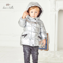 DB14860 dave bella winter baby unisex fashion solid hooded down coat children 90% white duck down padded kids jacket