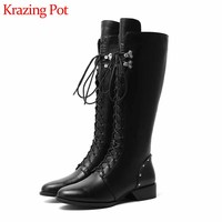 Krazing Pot handsome black colors rivets fashion streetwear cow leather boots round toe lace up women cozy thigh high boots L6f7