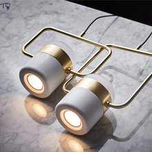 Nordic Simple Postmodern Rotating Led Pendant Lights Rose Gold Iron Suspension Luminaire Dining Room Bedroom Study Hanging Lamp(China)
