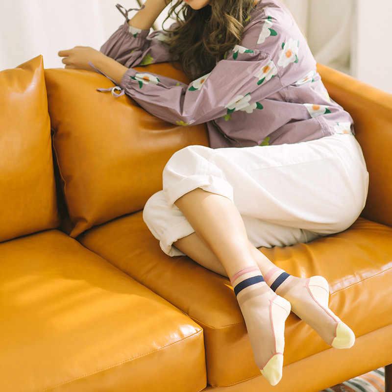 1 זוג אביב קיץ דק רך גרבי אופנה נשים שקוף צבע פסים תחרה מזדמן חמוד לנשימה גרב