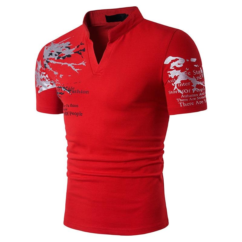 Dingshite Summe New Men's Fashion Short Leeve Stand Collar T Shirt 3