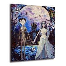 Cuadro de decoración de Halloween con pintura al óleo de arte en lienzo inspirado en la noche estrellada de la novia del cuerpo