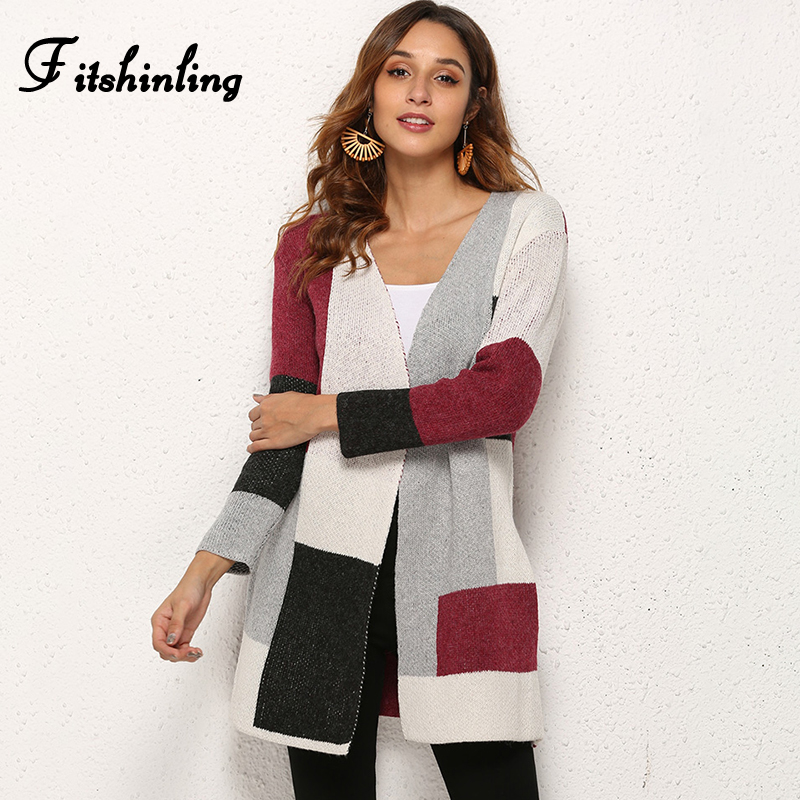 Fitshinling 2019 Fashion Cardigan Knitted Jacket Winter Outerwear Boho Block Patchwork Slim Sweaters Cardigans Women Long Coat