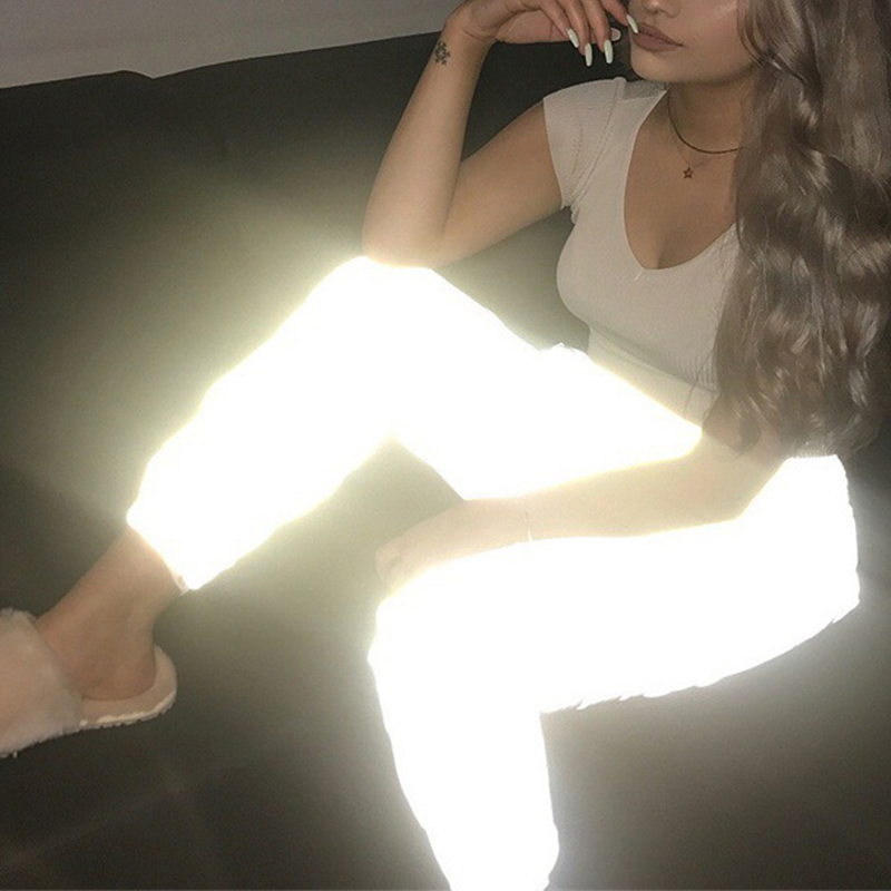 Flash Reflective Jogger Pants Women Casual Gray Solid Streetwear Trousers Hip Hop Dance Show Party Pants New
