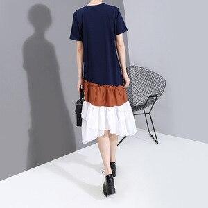 [EAM] Women Blue Ruffles Irregular Midi Dress New Round Neck Short Sleeve Loose Fit Fashion Tide Spring Summer 2020 1W581