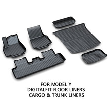 Accessoires de tapis de sol + ensemble de tapis de chargement Compatible avec Tesla modèle Y 2020 2021 3D tous temps anti-dérapant imperméable revêtements de sol