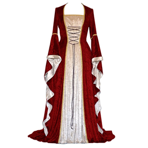 Image 3 - 새로운 중세 드레스 할로윈 의상 여성을위한 코스프레 궁전 고귀한 긴 가운 고대 벨 슬리브 공주 의상 드레스