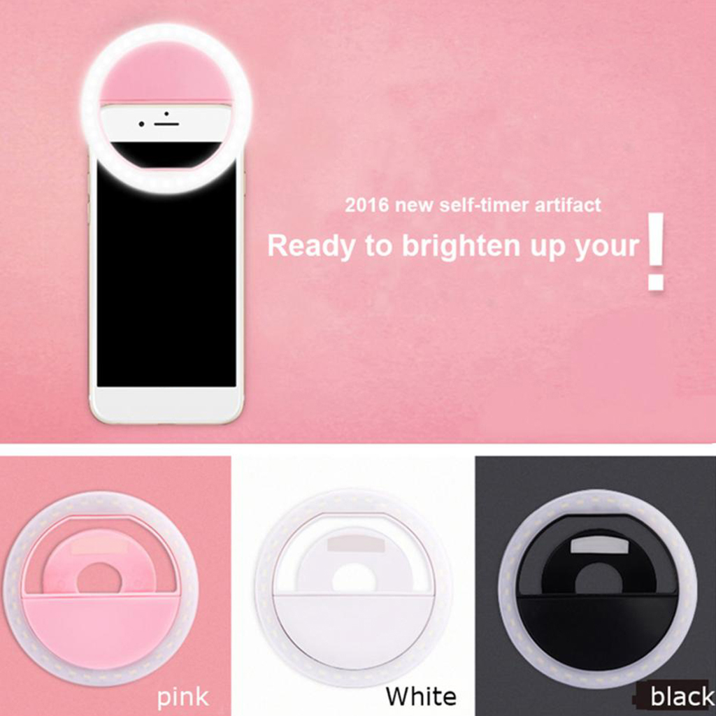 Practical Phone Selfie Portable LED Ring Fill Light Flash Camera Photography