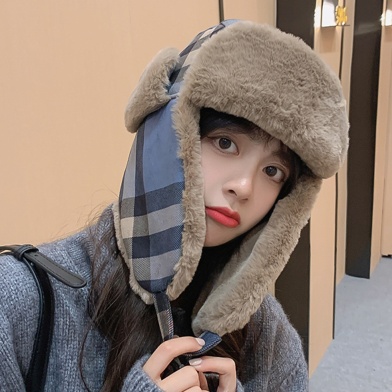 New Lei Feng Hat Female Winter Korean Northeast Cold Proof Lattice Bomber  Hat Girl Winter Cycling Ear Protection Thickened