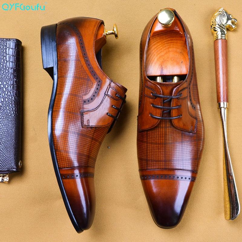 QYFCIOUFU Italian Brand Genuine Leather Business Men Dress Shoes Retro Wedding Business Oxford Shoes For Men Lace Formal Shoes