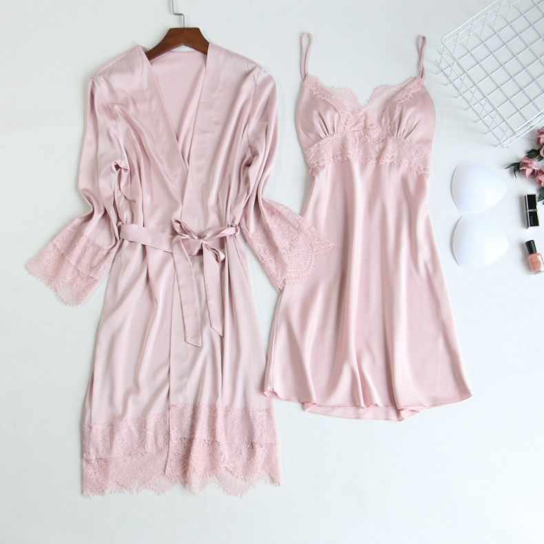 Mùa Thu Gợi Cảm Lụa áo dây áo bộ Nữ Cổ Chữ V Áo tắm nữ pyjamas Bộ Mùa Hè ren đồ ngủ quần lót mini phòng chờ