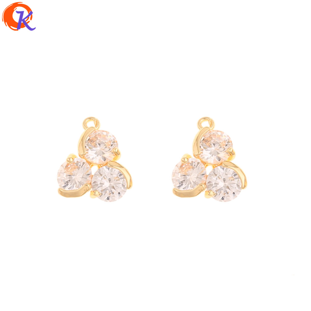 Cordial Design 30Pcs 12*14MM Jewelry Accessories/DIY Making/Pendant/Genuine Gold Plating/Hand Made/Earring Findings/CZ Charms