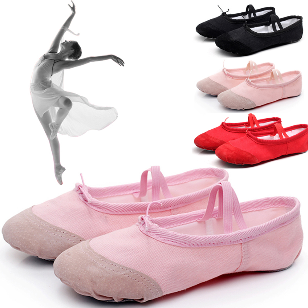 Fashion Professional Ballerina Ballet Dance Shoes Canvas Flats Soft Split Cow Leather Latin Dance Training Shoes Girls Toe