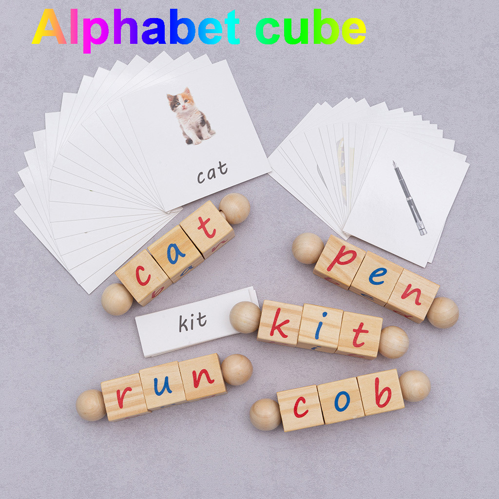 Children's Educational Early Childhood Letters Wooden Learning Puzzle Letter Teaching Educational Building Blocks Kids Toy L0120