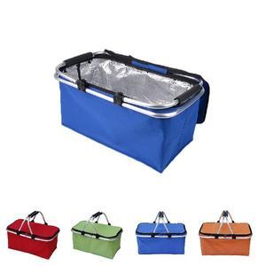 21l acampamento ao ar livre à prova dwaterproof água dobrável cooler isolado piquenique cestas oxford quadro de alumínio lidar com cesta de compras dobrável tb
