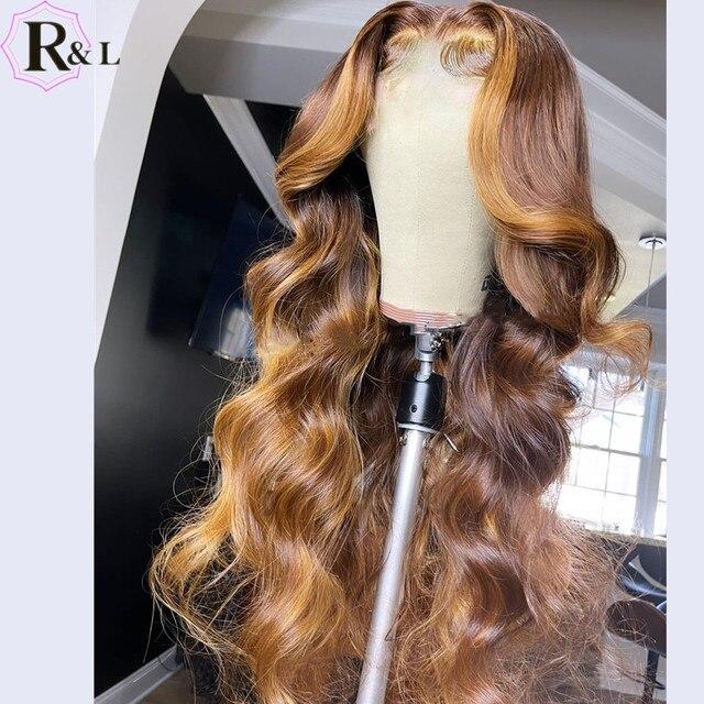 RULINDA-pelucas de cabello humano Remy brasileño, cabello con onda de encaje frontal, Color degradado, parte media prearrancada 4