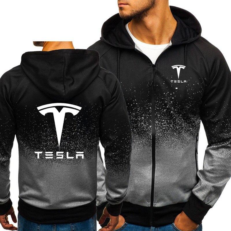 TESLA Logo Cotton Jacket 3D Hoodies Coat Pullover Zipper Coat Gradient Sweatshirts Outerwear