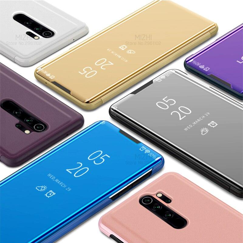 Capa de espelho de enchimento de smartphone, capa de enchimento de espelho inteligente para xiaomi redmi note 8 pro 7 8t 7a 8a k30, capa de visão clara mi cc9 note 10 9t pro 9 se 8 a2 lite a3 coque 6
