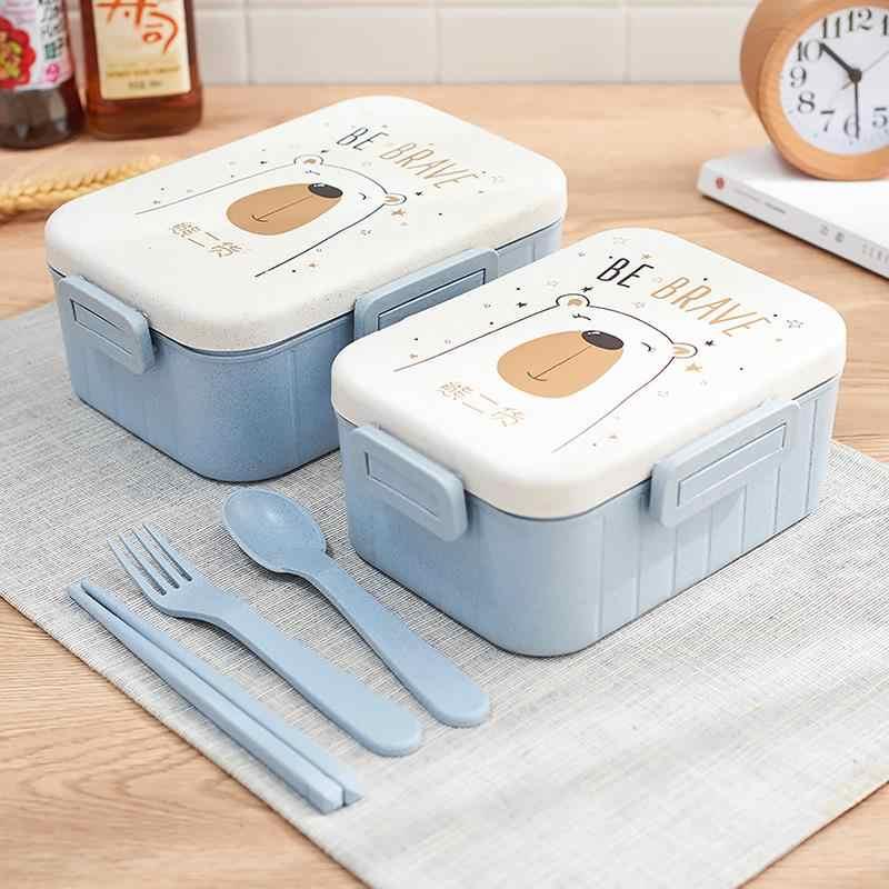 ใหม่น่ารักการ์ตูนกล่องอาหารกลางวันอาหารเย็นไมโครเวฟกล่องเก็บอาหารเด็กโรงเรียนสำนักงานแบบพกพา Bento กล่องกล่อง Bento