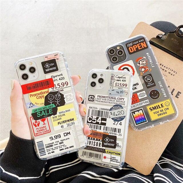 Fashion Retro Label Phone Cases For iPhone 11 12 Mini Pro XS Max X XR 7 8 Plus SE 2020 12Pro 11Pro Luxur Soft TPU Airbag Cover