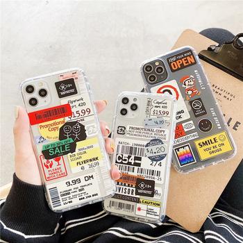 Moda Retro etykiety etui na telefony dla iPhone 11 12 Mini Pro XS Max X XR 7 8 Plus Luxur miękka TPU poduszka powietrzna pokrywa 12Pro 11Pro 12 Mini tanie i dobre opinie NiceKing CN (pochodzenie) Pół-owinięte Przypadku Soft Airbag Luxury Fashion APPLE Przezroczysty Cartoon Clear Case Airbag Cases