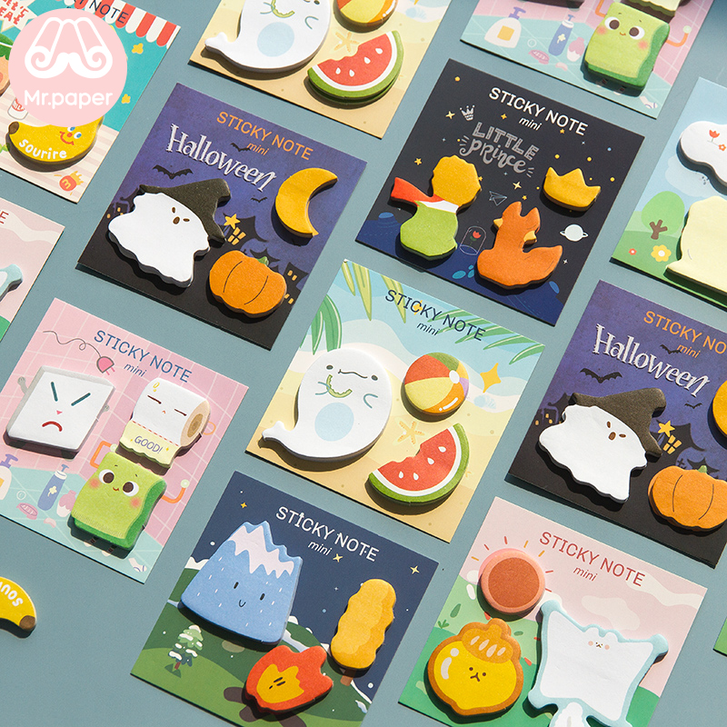 Mr Paper 90pcs/lot 8 Designs Little Prince Halloween Cartoon Memo Pads Sticky Notes Diary Creative Self-Stick Notes Memo Pads