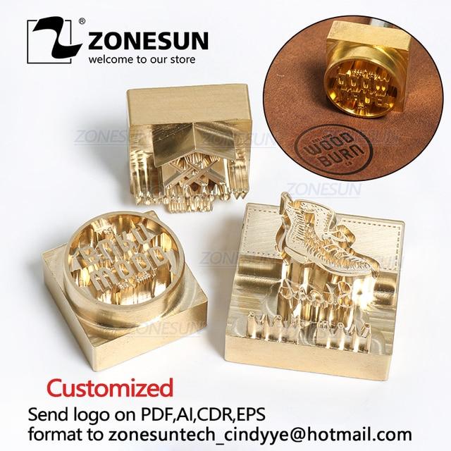 Zonesun 20 ミリメートルカスタマイズされたスタンプブランディングロゴのエンボス加工ホットstaming革レザーウッド個性燃焼ためスタンピング金型